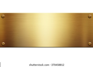 Gold plaque on a white background