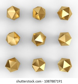 Gold platonic primitive set with shadows. 3D rendering.