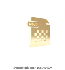 Gold PNG file document. Download png button icon isolated on white background. PNG file symbol. 3d illustration 3D render