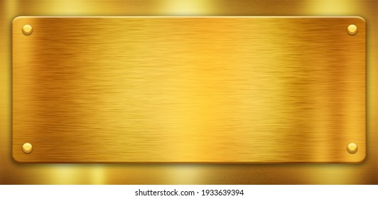 Gold polished metal plates with rivets. Shiny textures with space for your text. 3D illustration