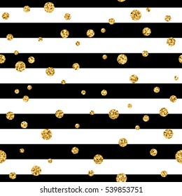 Gold polka dot on lines seamless pattern background. Golden foil confetti. Black and white stripes. Christmas glitter design decoration for card, wallpaper, wrapping, textile. Illustration
