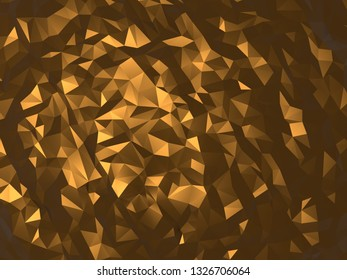 Gold polygonal abstruct background wallpaper 4k 3d