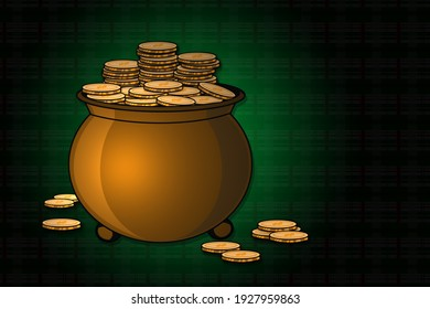 gold pot of coins in spotlight effect with green Irish st patricks day plaid pattern background illustration graphic