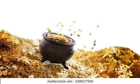 Gold pot on a pile of coins / saint patricks day concept / 3D illustration