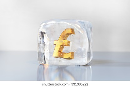 Gold pound symbol frozen in the ice cube. Economy slowdown, currency stagnation or debt freeze creative illustration.