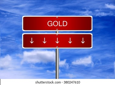 Gold price investment trading crash arrow going down falling industry bear market concept.
