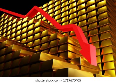 Gold prices falling in a bearish market. Red arrow going down over gold bullion bars. Concept digital 3D render.