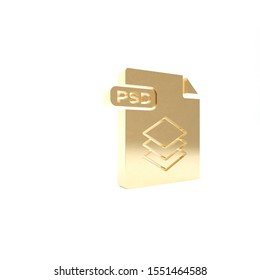 Gold PSD file document. Download psd button icon isolated on white background. PSD file symbol. 3d illustration 3D render