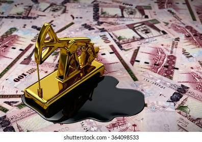 Gold Pumpjack And Spilled Oil On Saudi Riyals. 3D Scene.