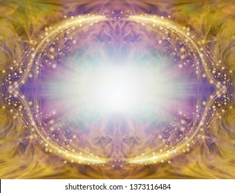 Gold and Purple Sparkling Angelic Border Frame - central light burst surrounded by symmetrical oval sparkling white and purple border with rich gold edging