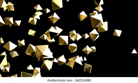 Gold pyramid particles background. 3d rendering