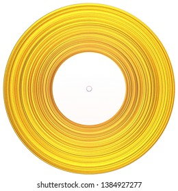 Gold record music disc award. Vinyl - music award, golden record with white labelisolated on white. 3d