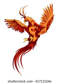 gold and red flying phoenix on the white background