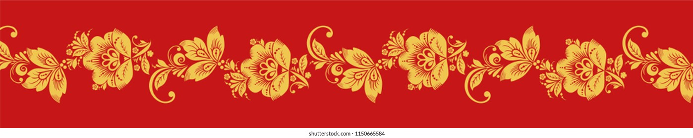 Gold and red hohloma seamless decoration . Russian traditional folk. Classic khokhloma art