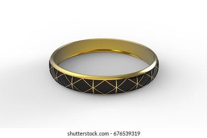 Gold ring. 3d illustration.