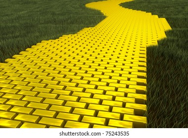 Gold road with green grass