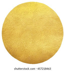 Gold round background with uneven edge isolated on white. Sun illustration. Golden circle shape template. Gold foil texture background.