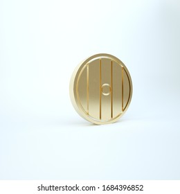 Gold Round wooden shield icon isolated on white background. Security, safety, protection, privacy, guard concept. 3d illustration 3D render