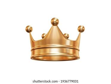 Goldene Königskrone einzeln auf weißem Hintergrund mit Kaiserschatz. 3D-Darstellung.