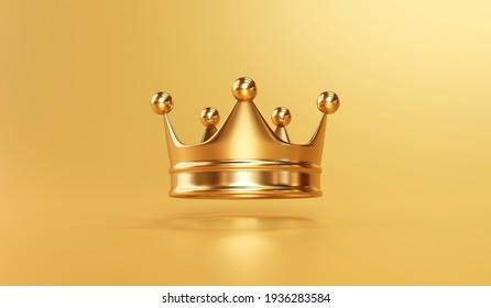 Goldene Königskrone auf goldenem Hintergrund mit Kaiserschatz. 3D-Darstellung.