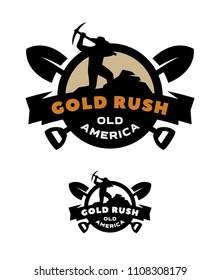 Gold rush, emblem logo two versions.