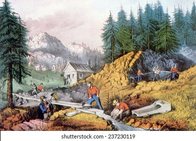 The Gold Rush, gold mining in California, ca. 1849, lithograph by Currier & Ives, 1871.