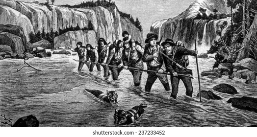 The Gold Rush, prospectors on their way to the Klondike, engraving 1898.