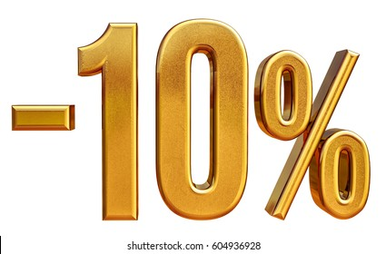 Gold Sale -10%, Gold Percent Off Discount Sign, Sale Banner Template, Special Offer -10% Off Discount Tag, Minus Ten Percent Sticker, Gold Sale Symbol, Gold Sticker, Banner, Advertising, Luxury Sale