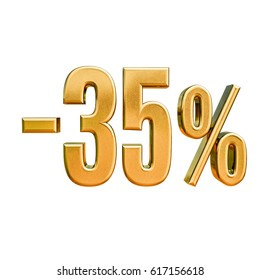 Gold Sale -35%, Gold Percent Off Discount Sign, Sale Banner Template, Special Offer -35% Off Discount Tag, Minus Thirty Five Percent Sticker, Gold Sale Symbol, Gold Sticker, Advertising, Luxury Sale