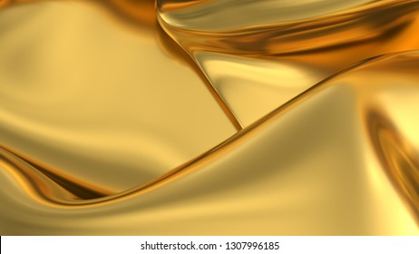 Gold satin or silk background. Gold digital fabric background. Gold texture. 3d render