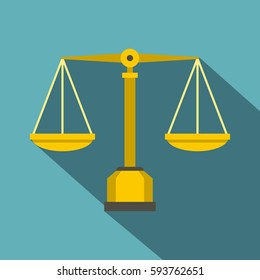 Gold scales of justice icon. Flat illustration of gold scales of justice  icon for web isolated on baby blue background