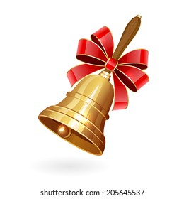 Gold school bell with bow isolated on white background, illustration.
