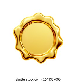Gold seal on white background, clipping path included - 3D Rendering