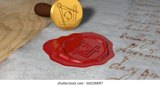 Gold seal and sealing wax in red marking a sealed envelope with the symbol of the Freemasonry, Masonry or Masonic Square and Compasses. 3D Rendering.