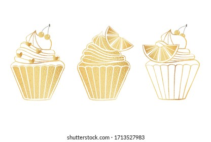 Gold set of cupcakes bakery logo isolated on white background for for invitations, greeting cards, business card