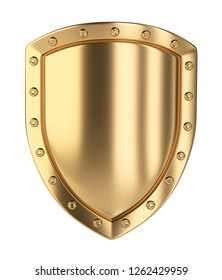 Gold shield. Isolated on white background 3d illustration.