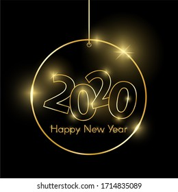 Gold shiny glowing christmas toy isolated on black. 2020 golden luxury line border for invitation, card, sale, fashion etc. Minimalistic luxury New Year 2020 concept