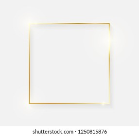 Gold shiny glowing vintage frame with shadows isolated on white background. Golden luxury realistic border. Wedding, mothers or Valentines day concept. Xmas and New Year abstract