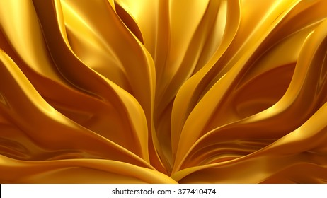 Gold silk-paced. 3d. Illustration. Background.