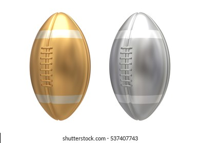 Gold and Silver american football on white background. 3D illustration