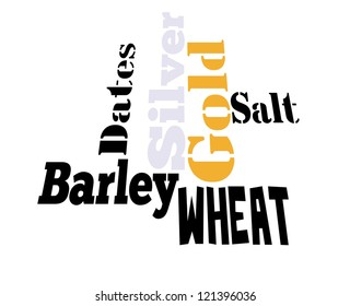 Gold, Silver, Barley, Wheat, Dates concept  info-text graphics and arrangement word clouds illustration concept