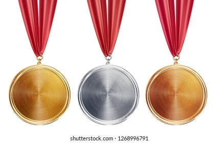 gold silver and bronse medals isolated on a white. 3d illustration