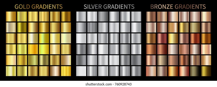 Gold, silver, bronze gradients. Collection of colorful gradient illustrations for backgrounds, cover, frame, ribbon, banner, coin, label, flyer, card, poster, ring etc.