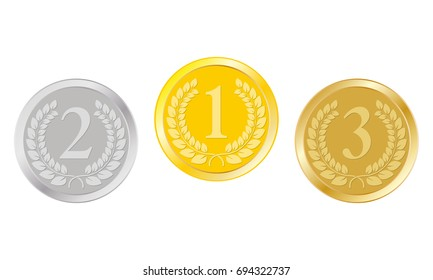 Gold, silver and bronze medals. 1st, 2nd, 3rd places award. Champion and winner prize.