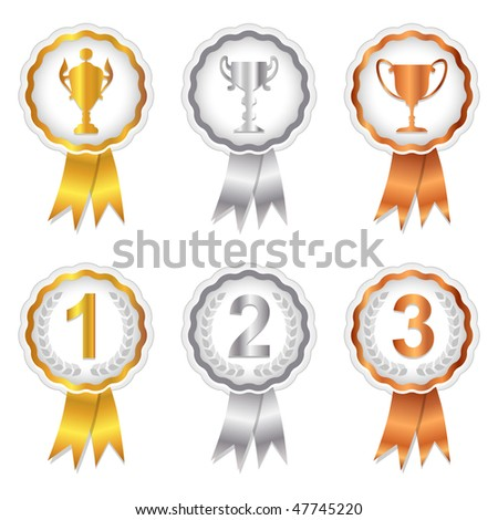 Gold, Silver and Bronze rosette badges with trophy and place numbers for 1st, 2nd and 3rd. A vector version of this image is also available in my portfolio.