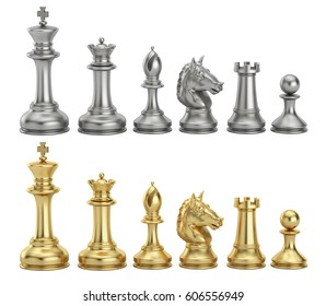 Gold and silver chess figures in row, 3D rendering