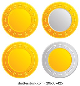 Gold and silver coins set. Cash symbol with stars template.