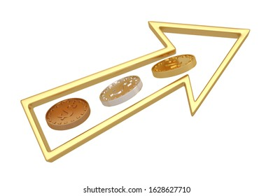 Gold, silver and copper coins Isolated in white background.  3d illustration