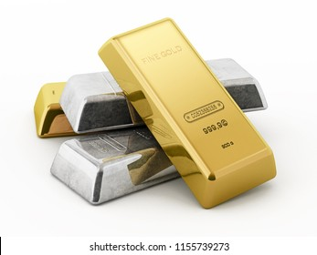 Gold and silver ingots isolated on white background. 3D illustration.