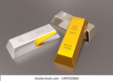 Gold, silver and platinum ingots or bars stacked over reflective silver colored background - precious metal or money investment concept, 3D illustration